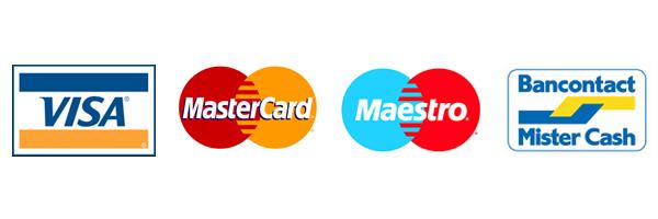 Bancontact - Maestro - Visa - Mastercard